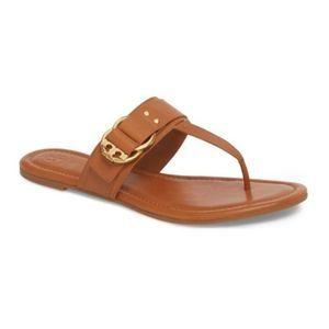 Tory Burch Marsden T Logo Tan Flat Thong Sandals